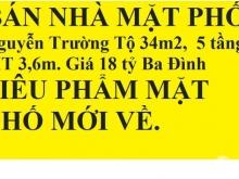 BÁN NHÀ MẶT PHỐ Nguyễn Trường Tộ 34m2, 5 tầng, MT 3,6m. Giá 18 tỷ Ba Đình
