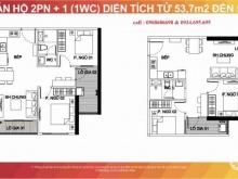 Bán  căn 2PN + 1wc. dự án Vinhomes Smart City - Tây Mỗ - Nam Từ Liêm. Hà  Nội Diện tích  59m2  tầng số 12 tòa S6 . hướng Tây Bắc